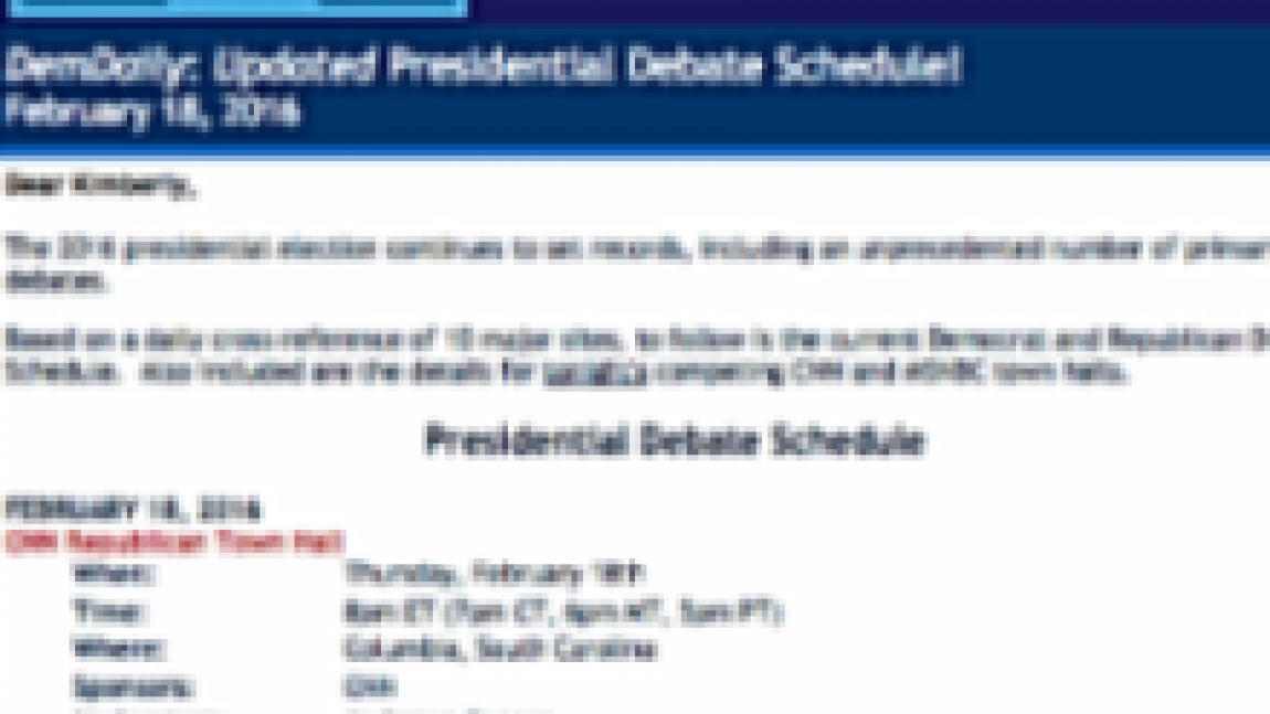 DemDaily: Updated Presidential Debate Schedule!