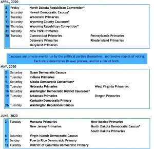 Election Calendar 2020 DemDaily: The 2020 Presidential Primary Calendar. The Update