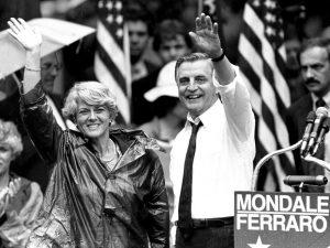 Candidates Geraldine Ferraro and Walter Mondale waving to crowd