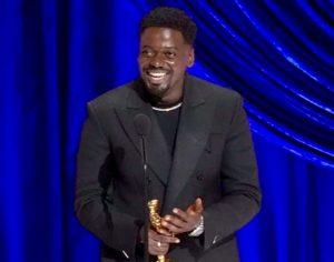 Daniel Kaluuya accepting his Oscar
