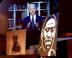 Joe Biden on screen behind two images of George Floyd