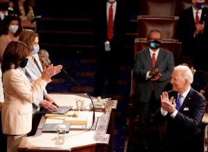 Kamala Harris, Nancy Pelosi, and Joe Biden at congressional dais