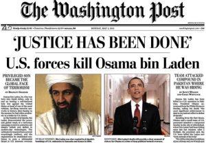 "Washington Post Headline Declaring ""'Justice Has Been Done': U.S. forces kill Osama bin Laden"""