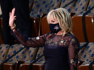 First Lady Jill Biden in the upper House chamber, waving