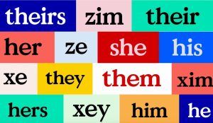 Collage of different personal pronouns