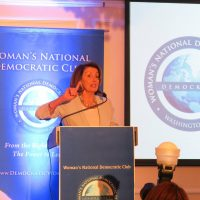 Leader Nancy Pelosi speaks at the Woman's National Democratic Club
